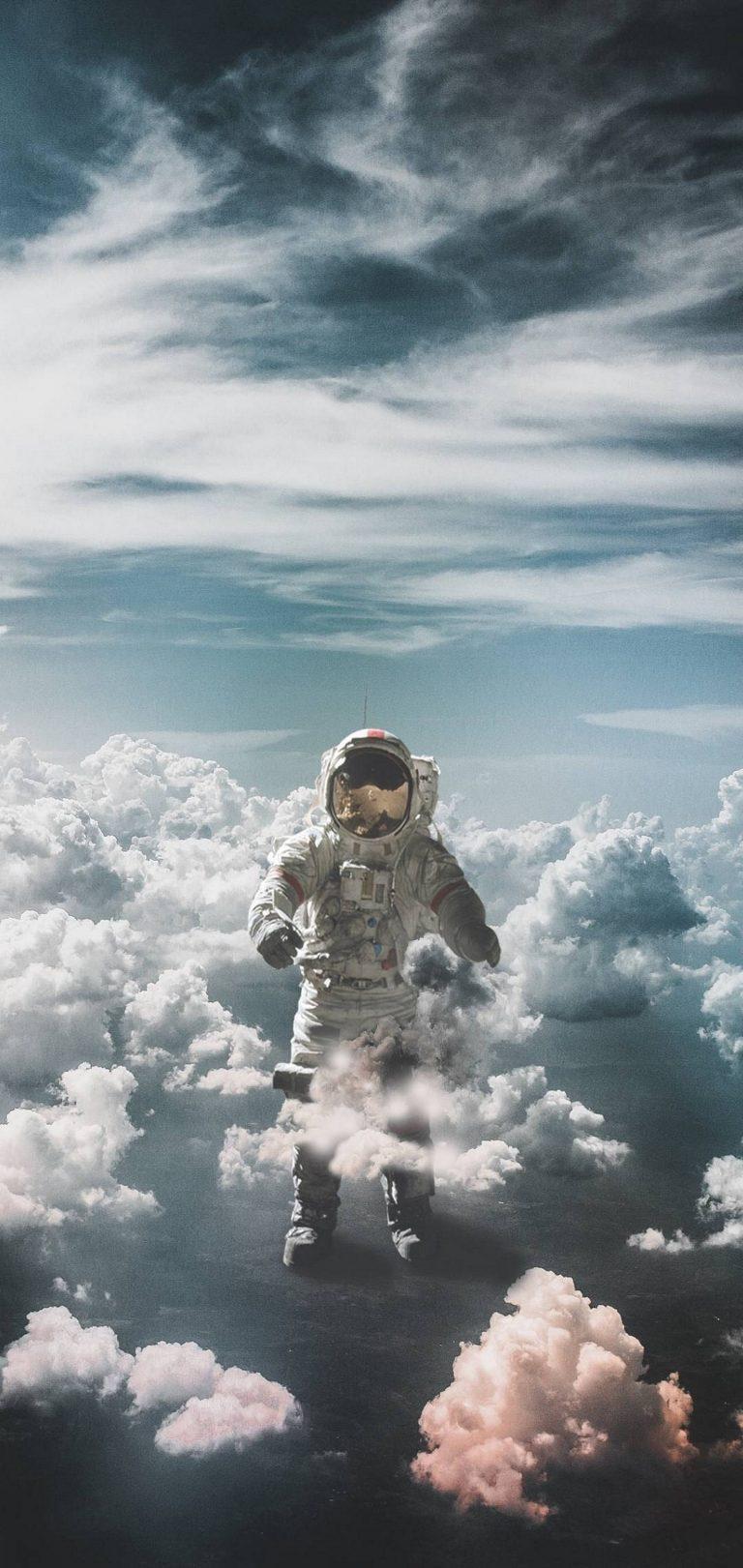 Astronaut Suit Space Clouds Wallpaper 1440x3040 768x1621