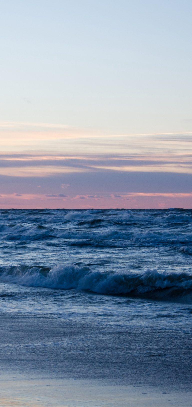 Beach Ocean Sand Horizon Wallpaper 1440x3040 768x1621
