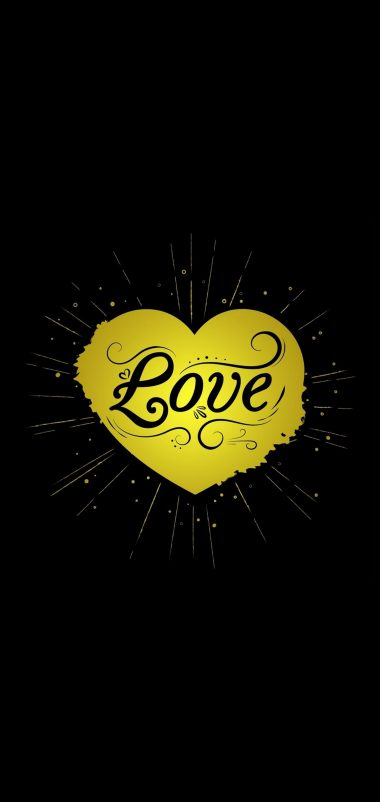 Black Yellow Love Heart Wallpaper 1440x3040 380x802