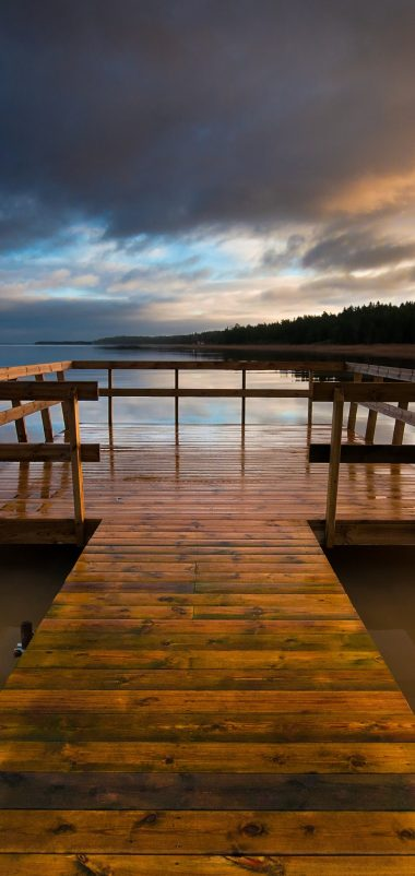 Bridge Lake Wooden Pier Wallpaper 1440x3040 380x802