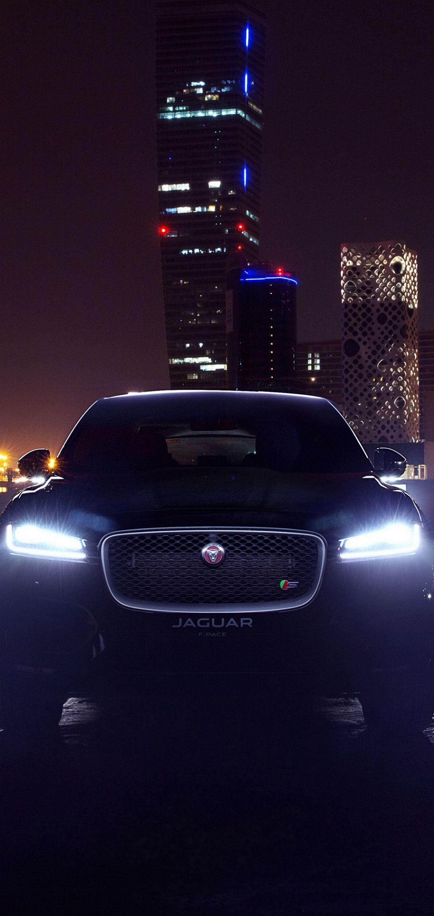 City Jaguar Dark Car Wallpaper 1440x3040