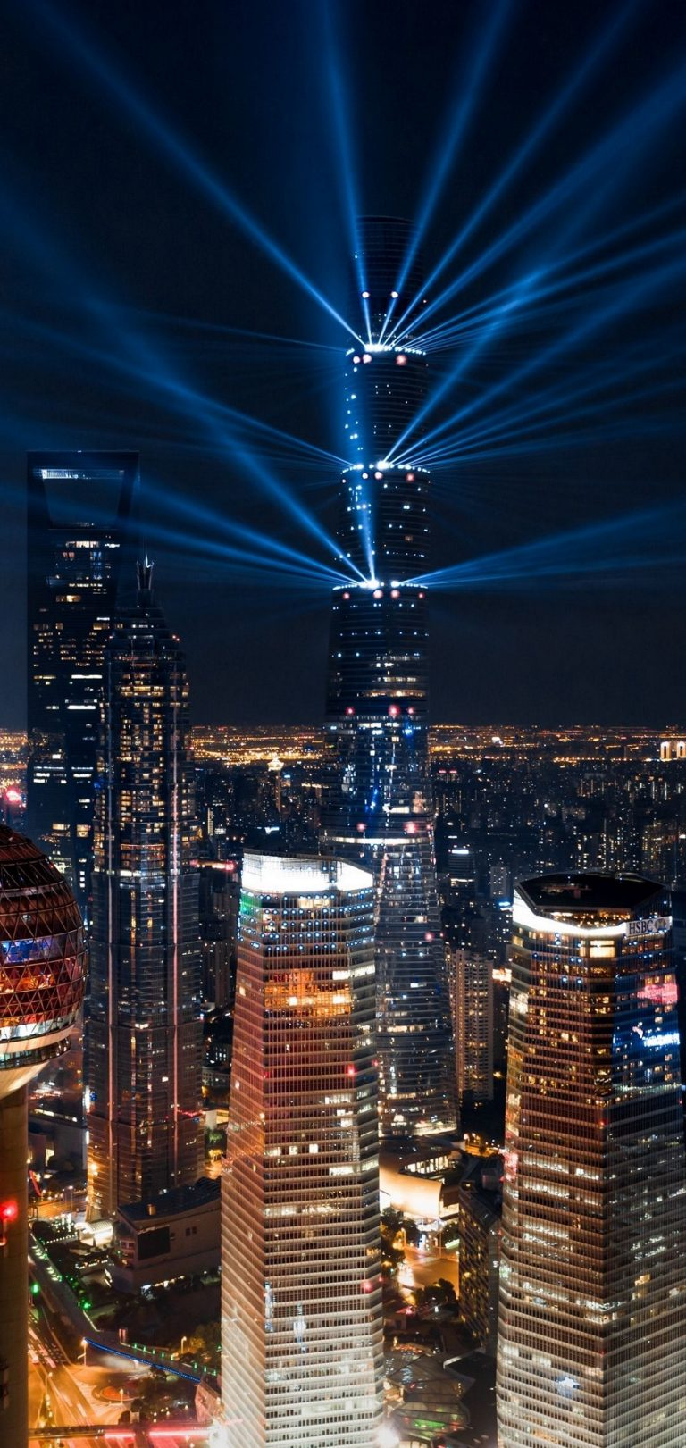 City Lights Aerial View Wallpaper 1440x3040 768x1621