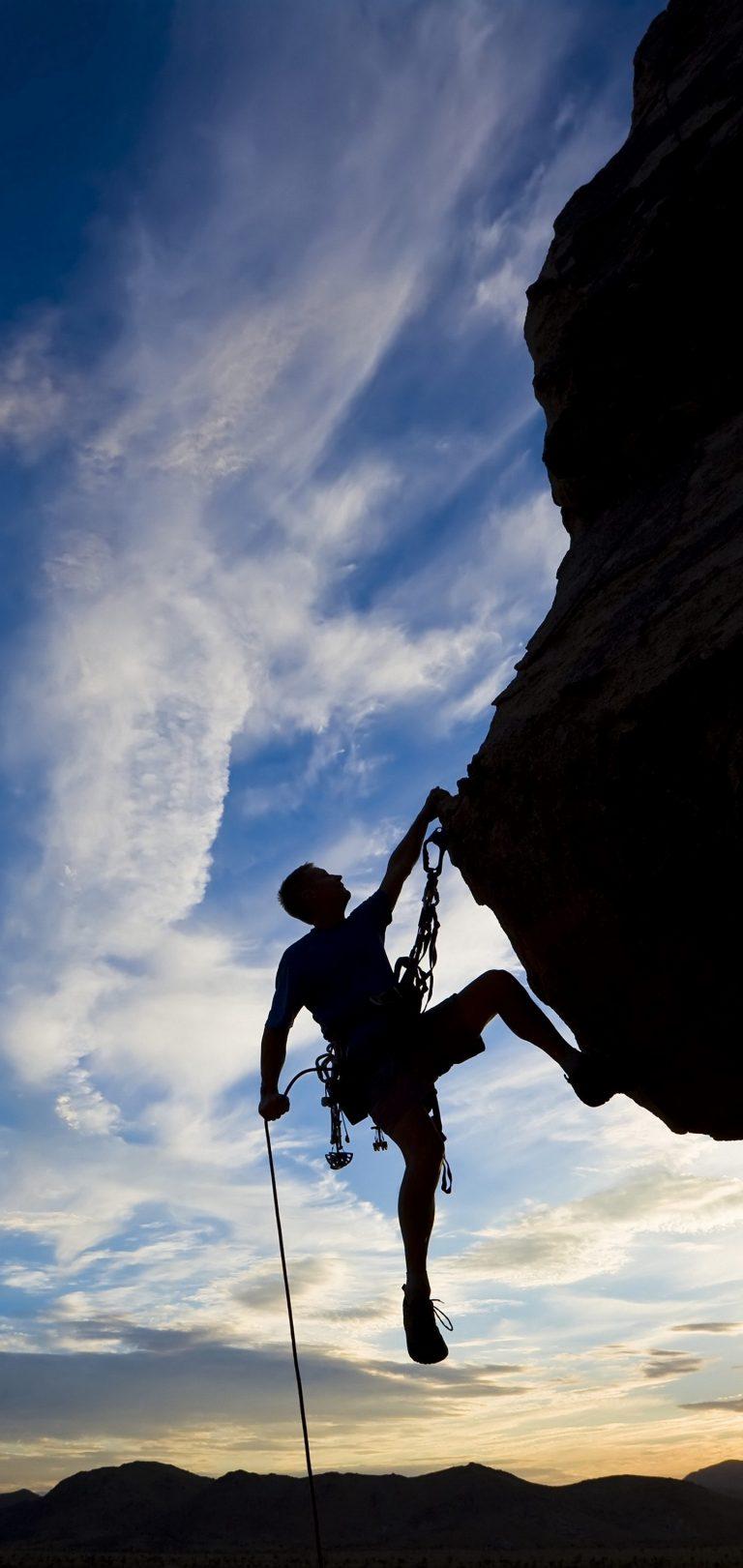 Climber Extreme Silhouette Climbing Wallpaper 1440x3040 768x1621