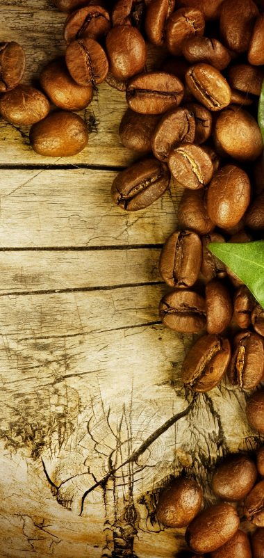 Coffee Grains Leaves Board Wallpaper 1440x3040 380x802