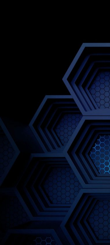 Dark Blue Boxes 3D Abstract 1080x2400 380x844