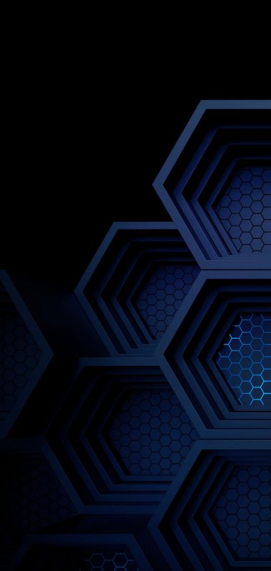 Dark Blue Boxes 3D Abstract Wallpaper 1440x3040 380x802