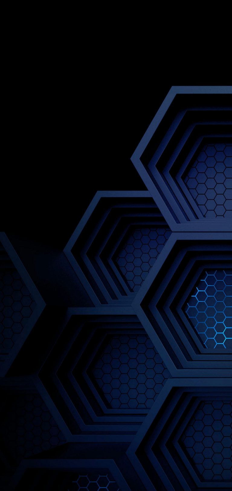 Dark Blue Boxes 3D Abstract Wallpaper 1440x3040 768x1621