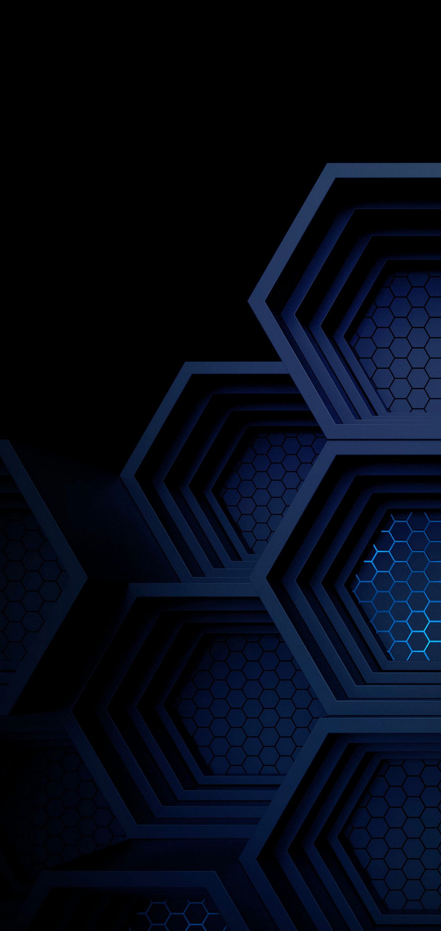 Dark Blue Boxes 3d Abstract Wallpaper 1440x3040