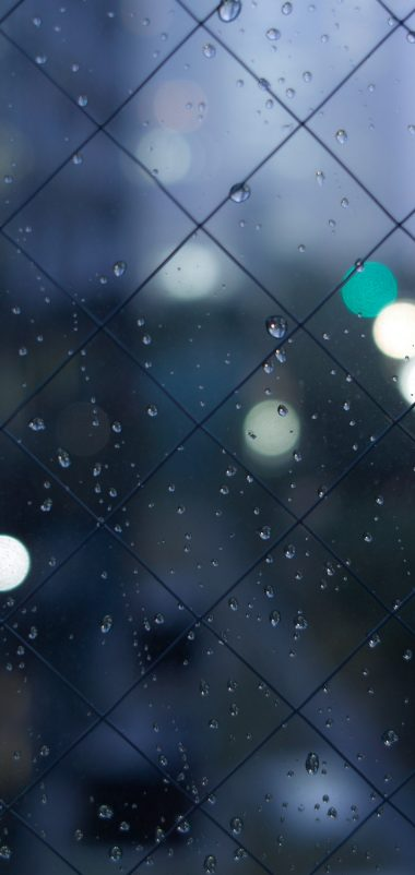Fence Mesh Drops Texture Wallpaper 1440x3040 380x802