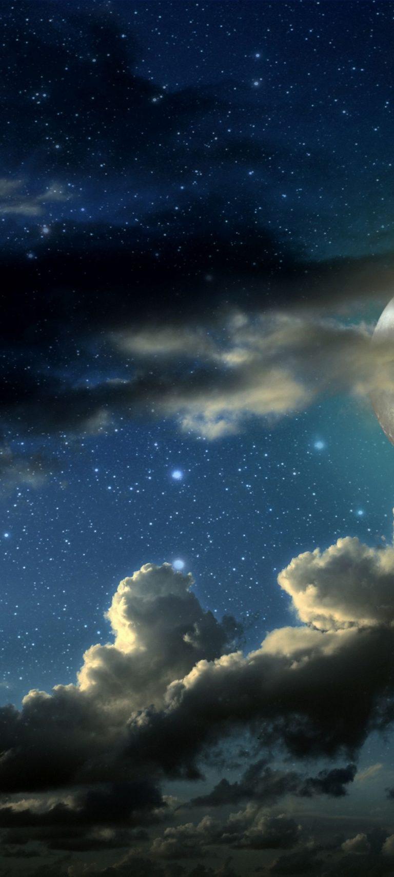 Full Moon Stars Clouds Shadows 1080x2400 768x1707