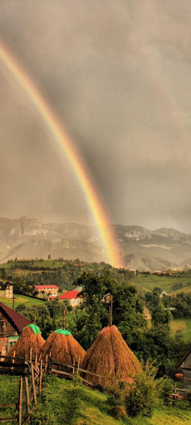 Houses Clouds Rainbow Landscape 1080x2400 768x1707
