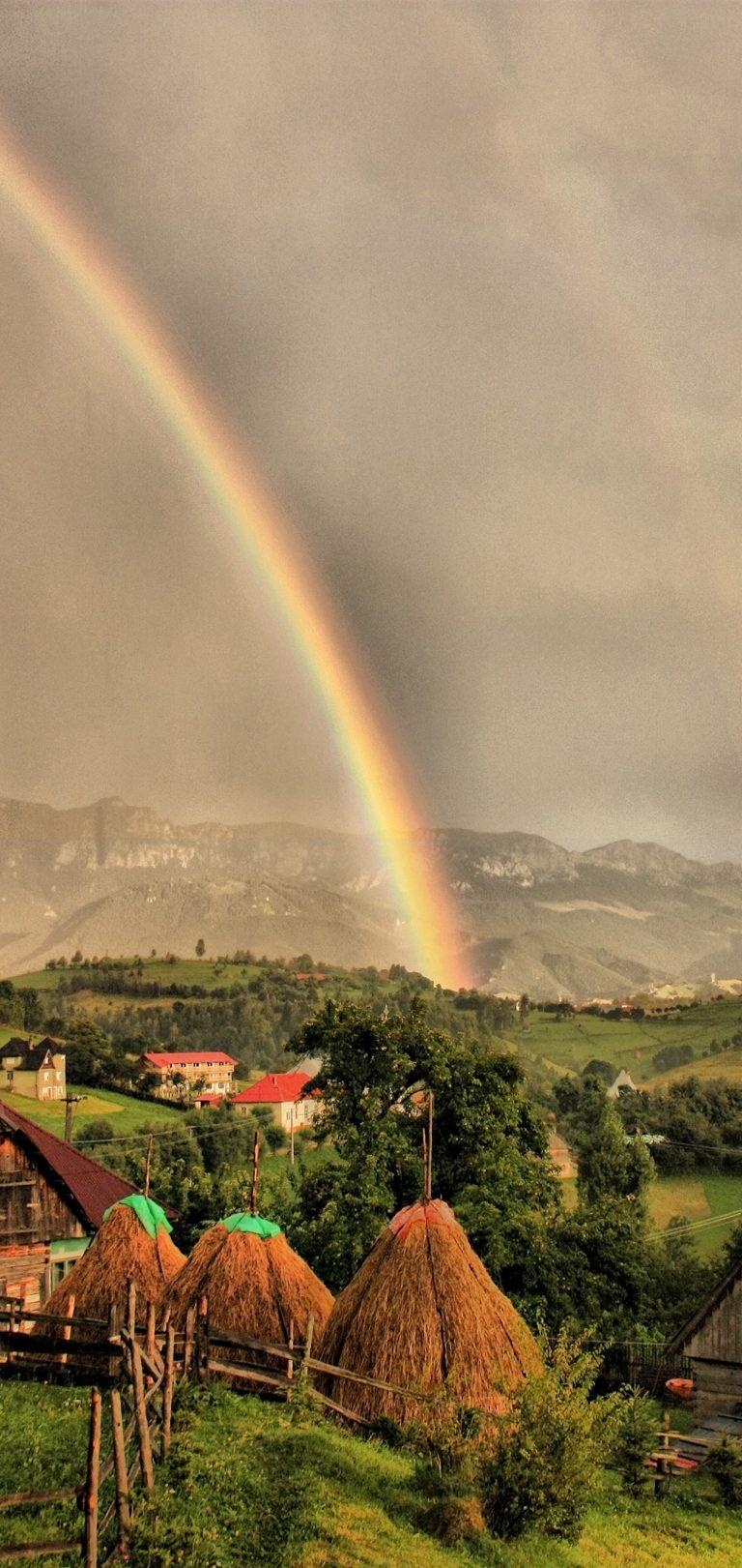 Houses Clouds Rainbow Landscape Wallpaper 1440x3040 768x1621