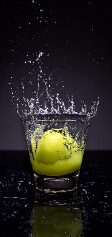 Lemon Glass Water Spray Wallpaper 1440x3040 380x802
