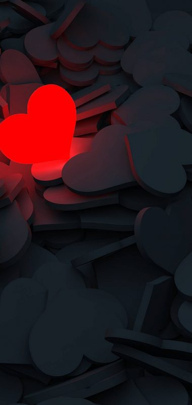 Lightning Love Red Heart Wallpaper 1440x3040 380x802