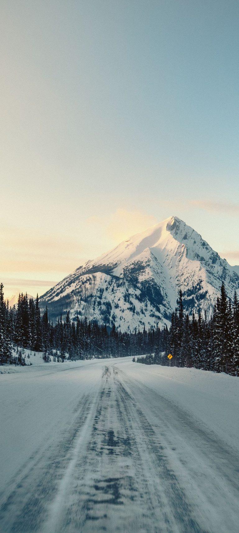 Mountain Road Snow Nature 1080x2400 768x1707