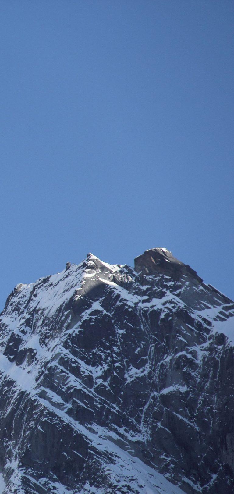 Mountain Top Sky Moon Snow Wallpaper 1440x3040 768x1621