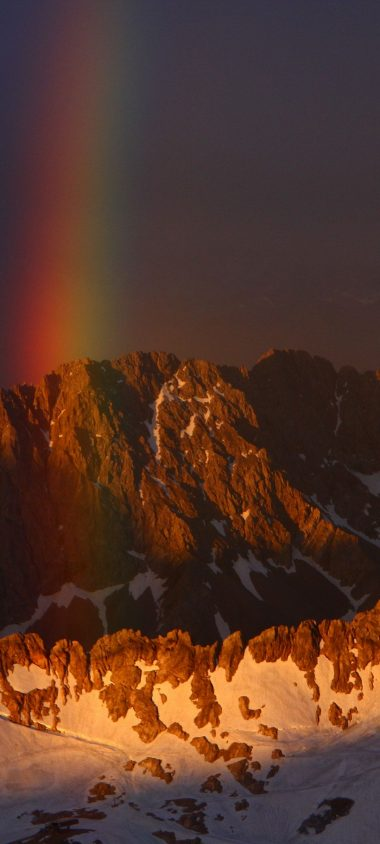 Mountains Sky Rainbow Snow 1080x2400 380x844