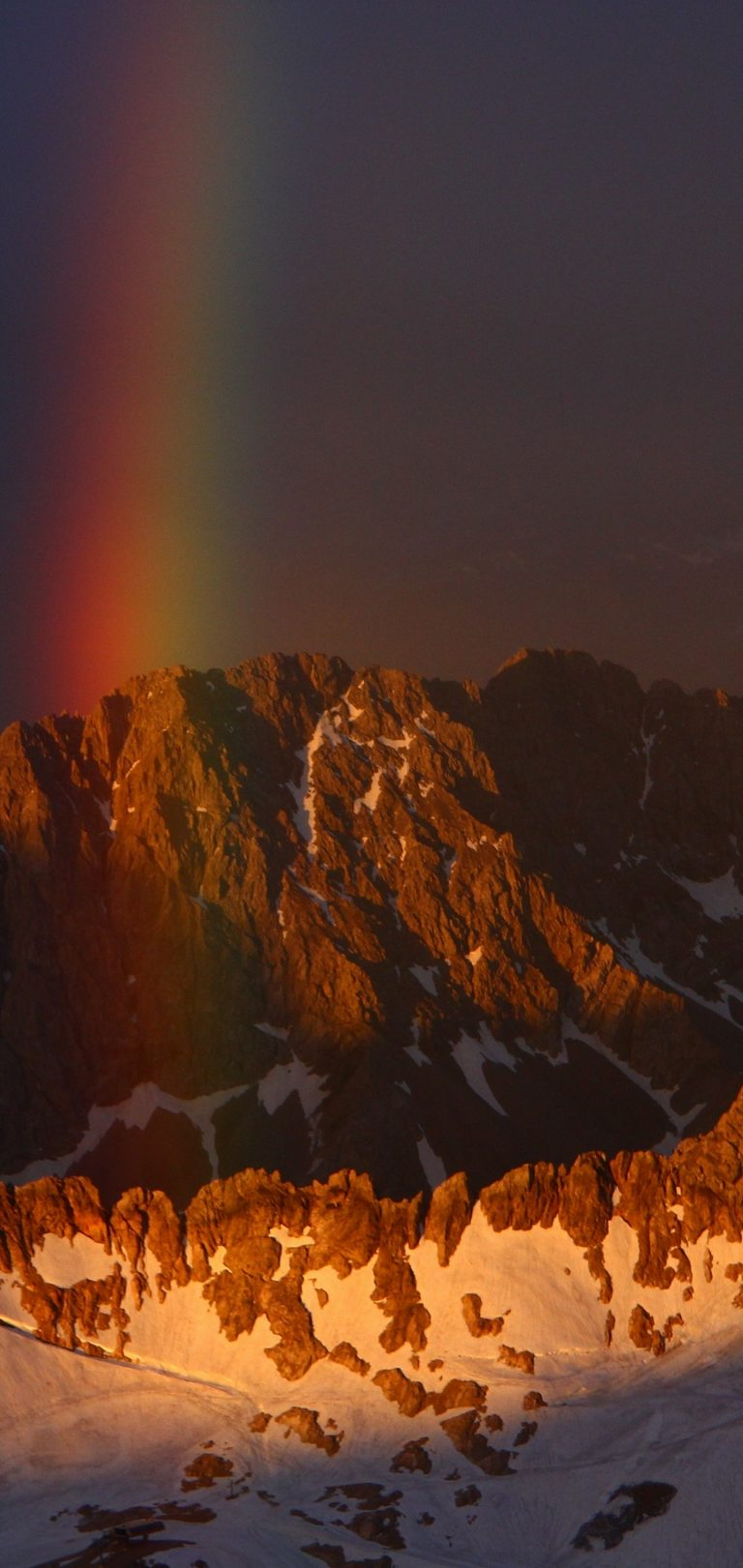 Mountains Sky Rainbow Snow Wallpaper 1440x3040 768x1621