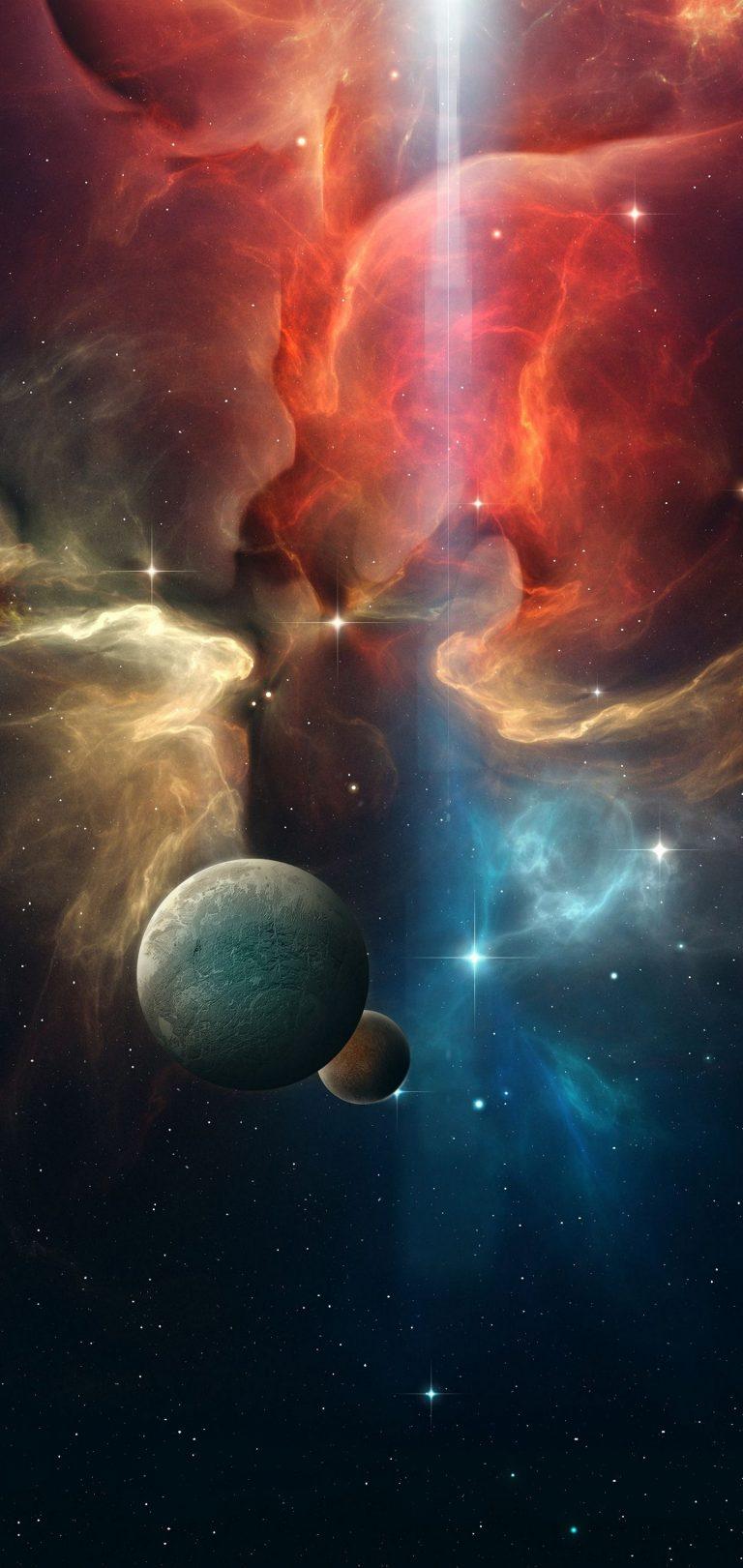 Multicolor Space Planet Wallpaper 1440x3040 768x1621
