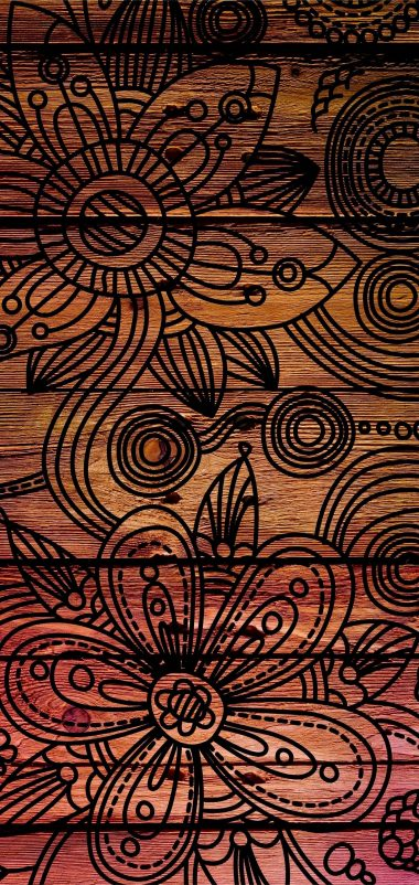 Patterns Dark Wooden Wallpaper 1440x3040 380x802