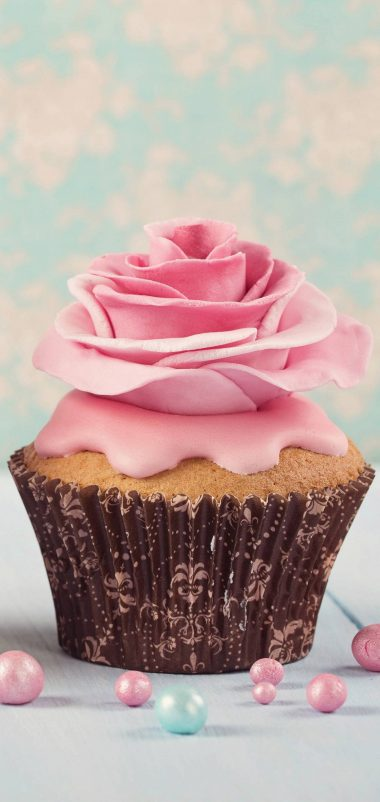 Pink Flower Cup Cake Wallpaper 1440x3040 380x802