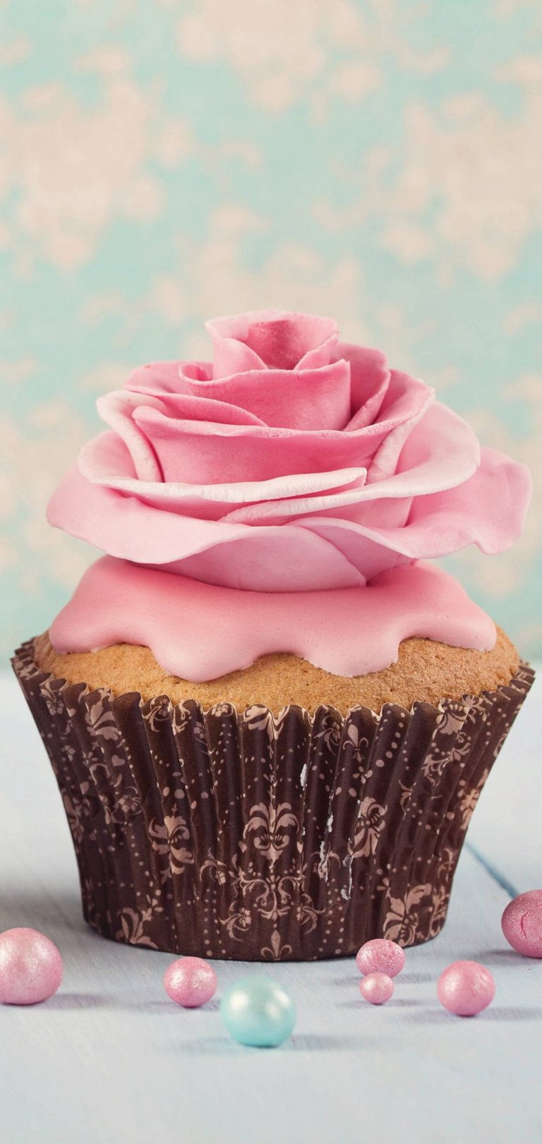 Pink Flower Cup Cake Wallpaper 1440x3040 768x1621