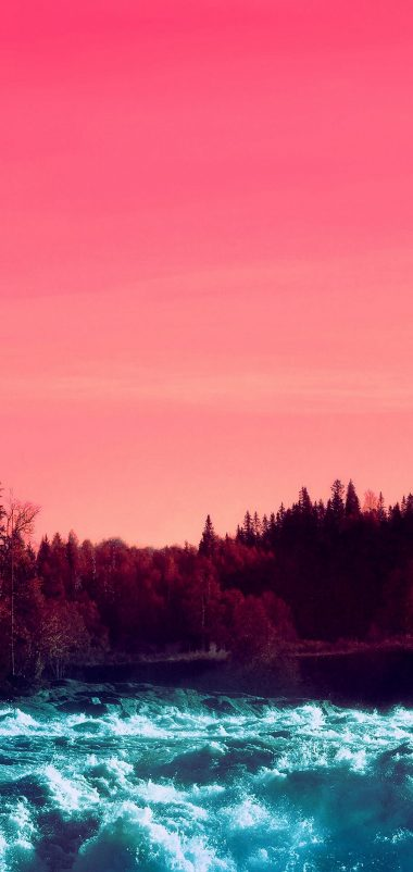 Pink Sky Nature Water Wallpaper 1440x3040 380x802