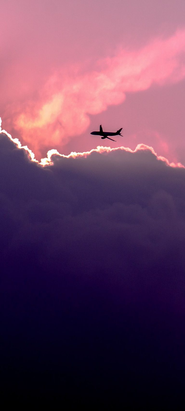 Plane Sky Clouds 1080x2400 768x1707