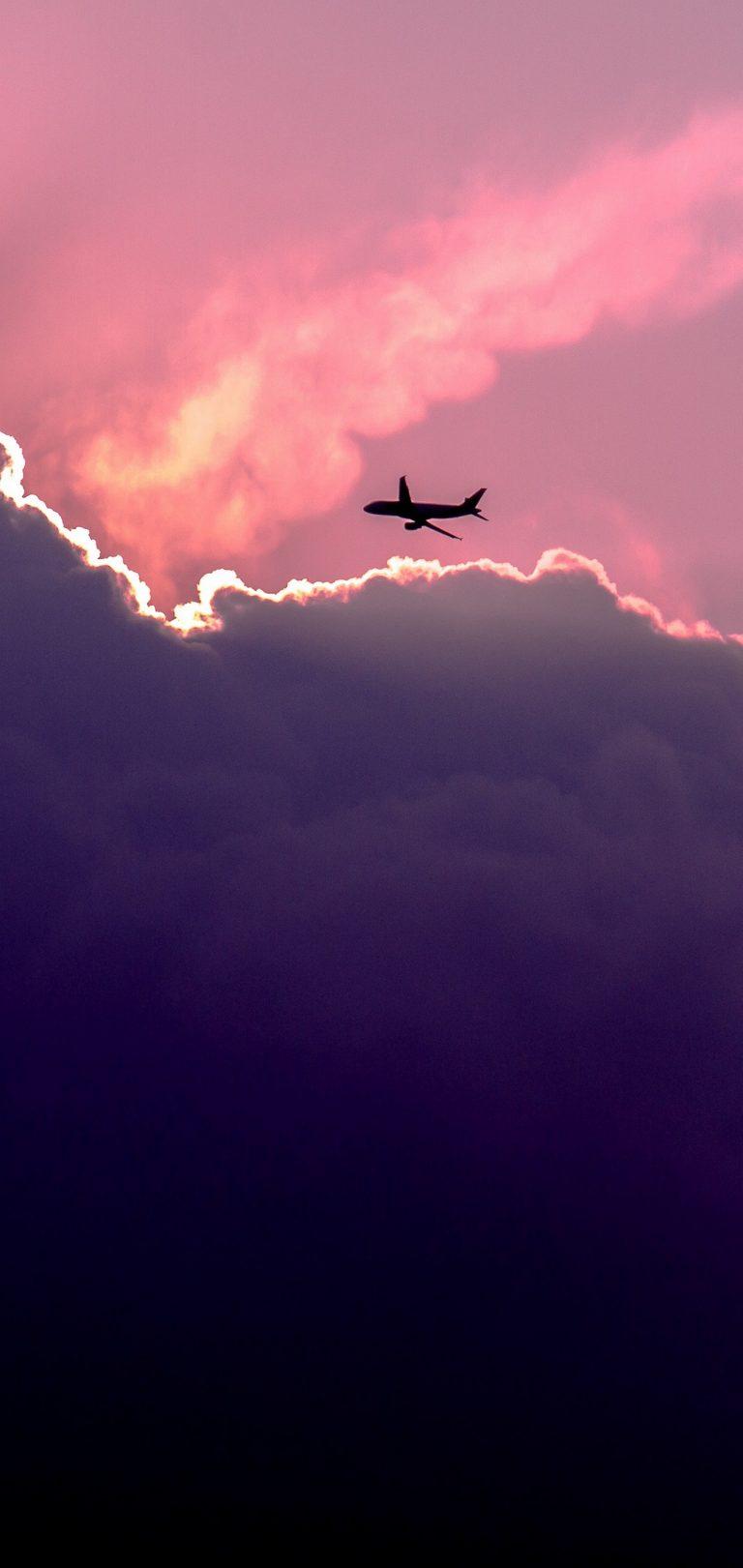 Plane Sky Clouds Wallpaper 1440x3040 768x1621