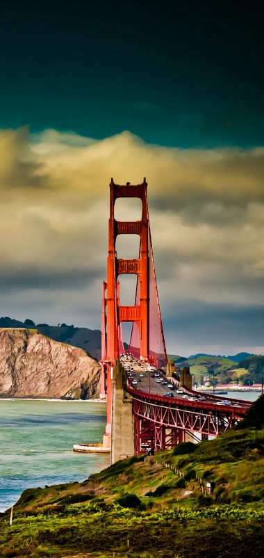San Francisco Bridge Sky River Wallpaper 1440x3040 380x802