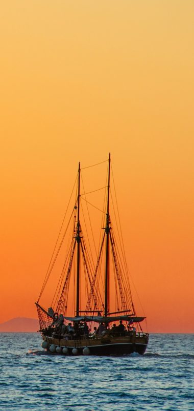 Sea Sailboat Horizon Wallpaper 1440x3040 380x802