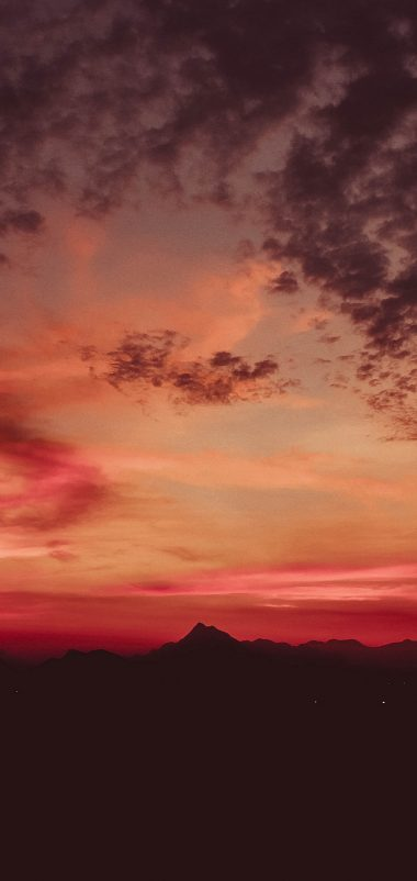 Sunset Mountains Clouds Sky Wallpaper 1440x3040 380x802
