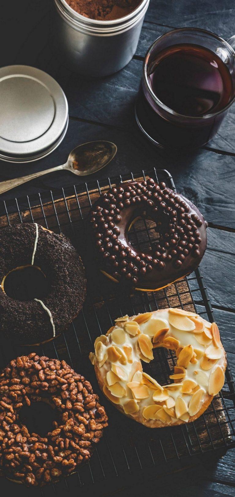 Sweet Donuts Icing Tea Wallpaper 1440x3040 768x1621