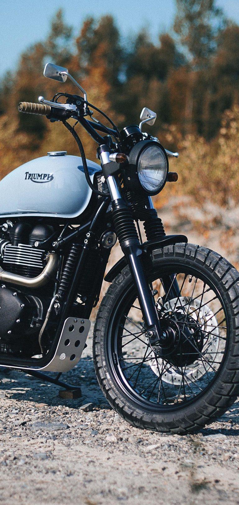Triumph Bonneville Bike Side View Wallpaper 1440x3040 768x1621