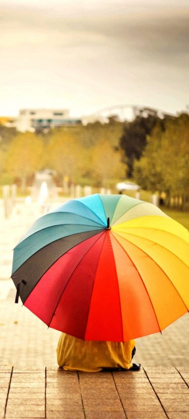 Umbrellas Colorful Kids Rainbow 1080x2400 380x844