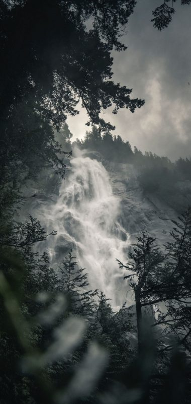 Waterfall Fog Rock Wallpaper 1440x3040 380x802
