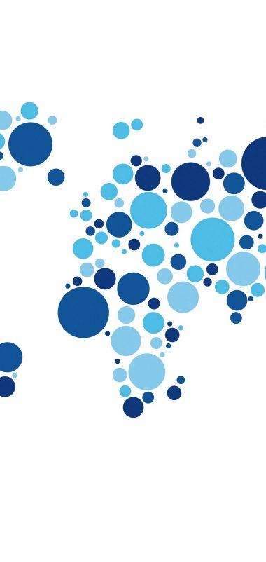 World Map Circles White Wallpaper 1440x3040 380x802
