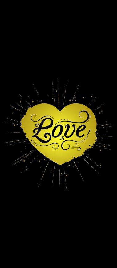 Black Yellow Love Heart 1080x2460 380x866