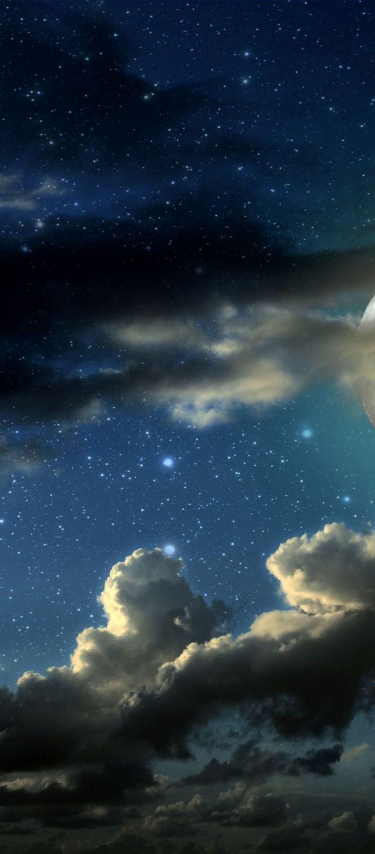 Full Moon Stars Clouds Shadows 1080x2460 768x1749