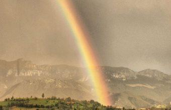 Houses Clouds Rainbow Landscape 1080x2460 340x220