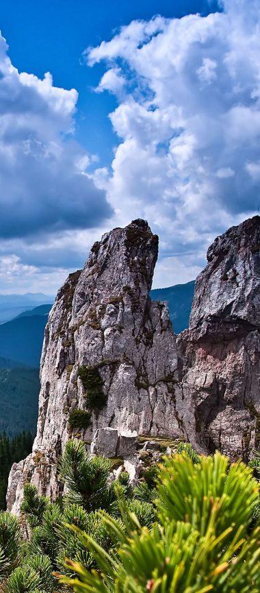 Rocks Mountains Bushes Trees Sky 1080x2460 380x866