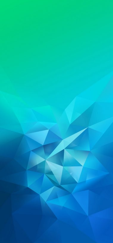3D Blue Green Blur Polygon Wallpaper 720x1544 380x815