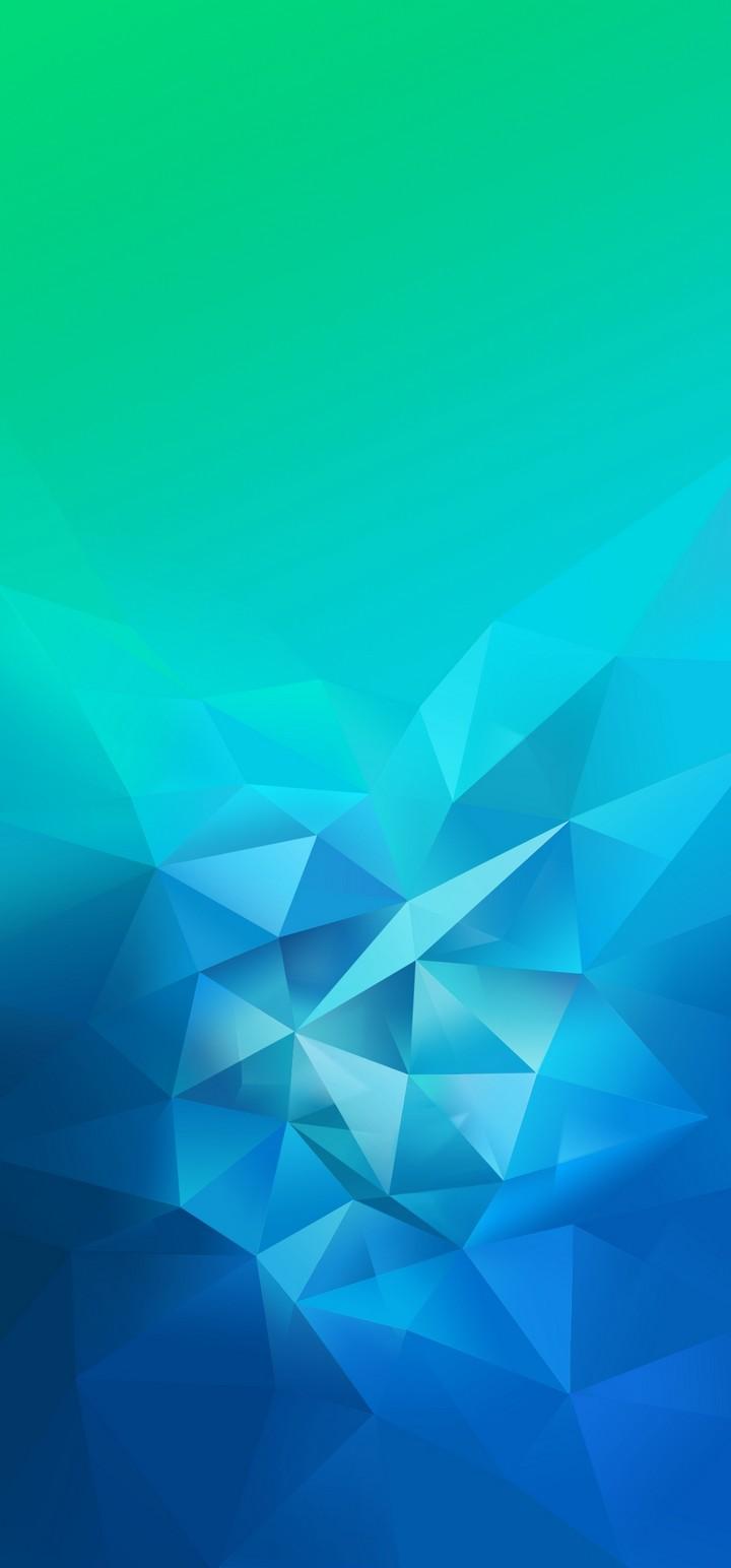 3D Blue Green Blur Polygon Wallpaper 720x1544