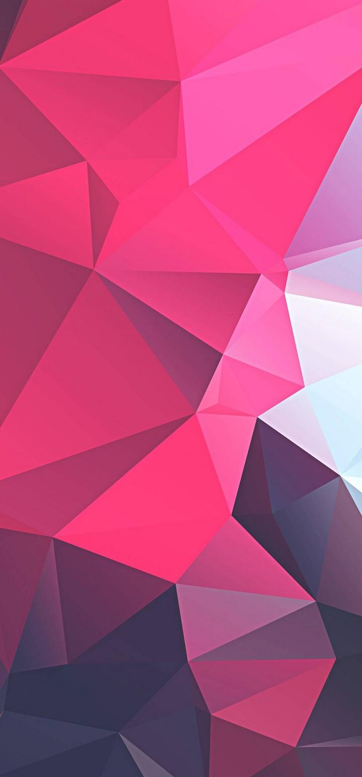 3D Pink Polygon Wallpaper 720x1544