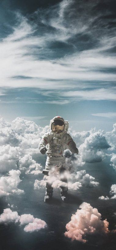Astronaut Suit Space Clouds Wallpaper 720x1544 380x815