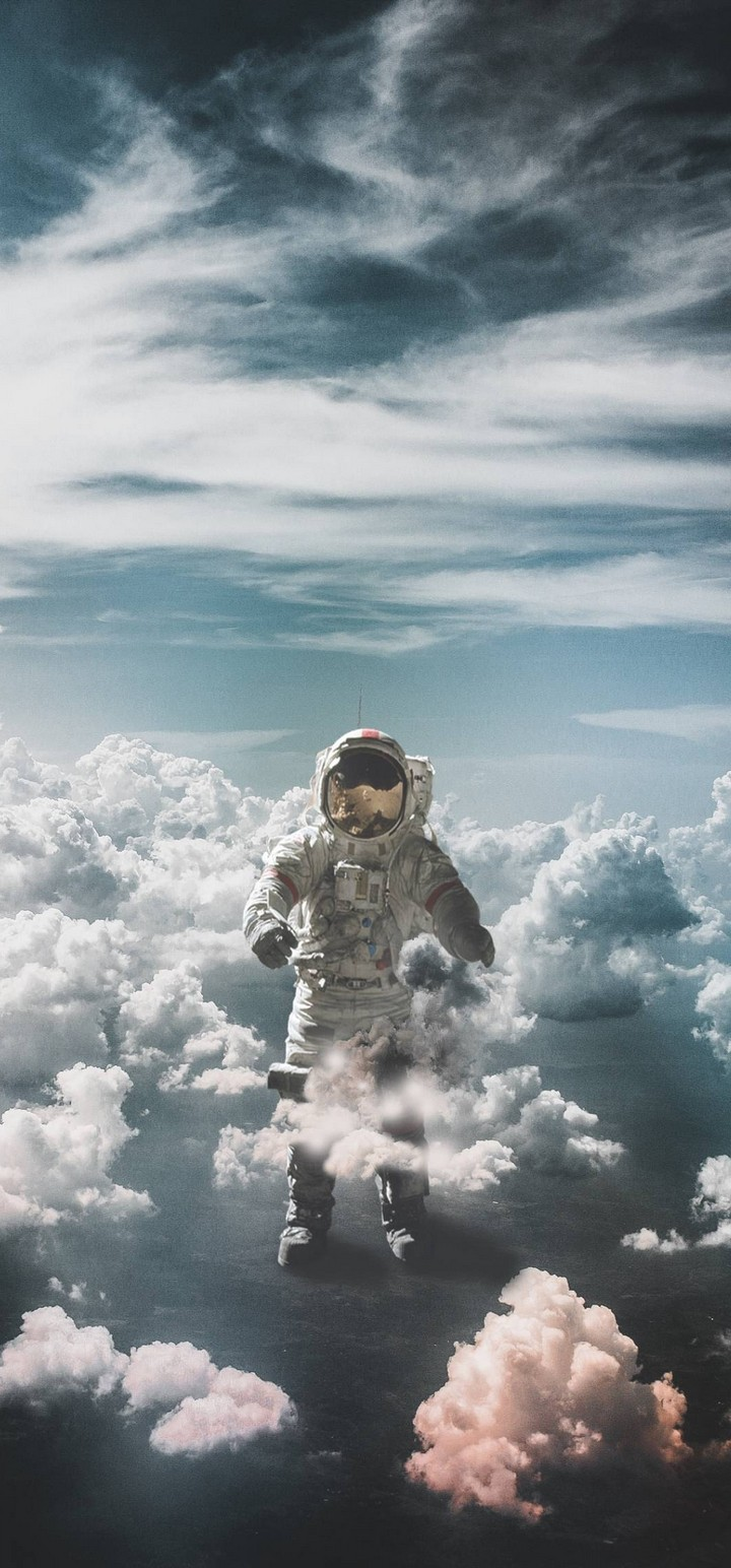 Astronaut Suit Space Clouds Wallpaper 720x1544