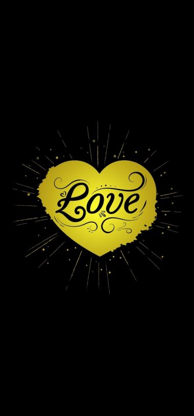 Black Yellow Love Heart Wallpaper 720x1544 380x815