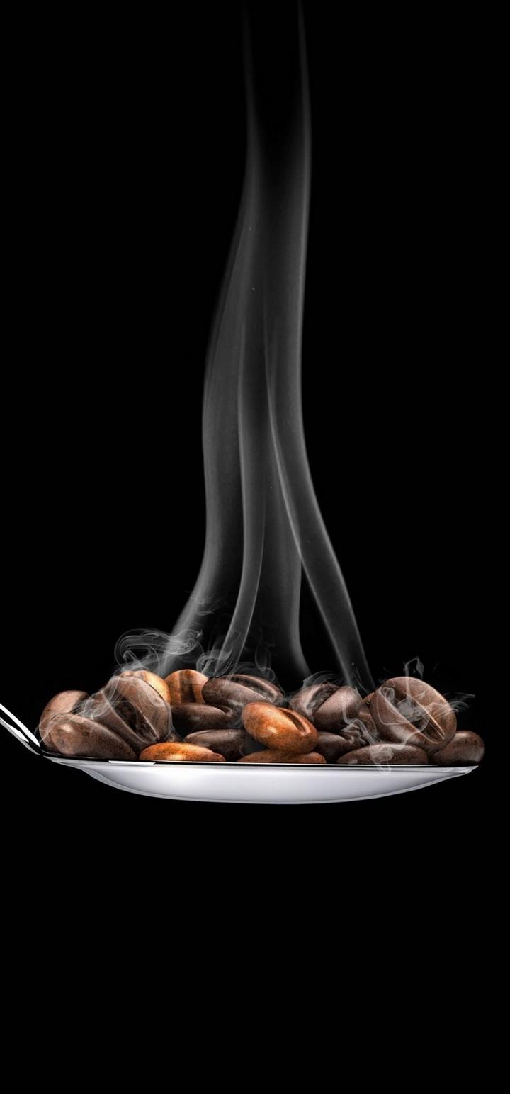 Coffee Beans Spoon Minimal Wallpaper 720x1544