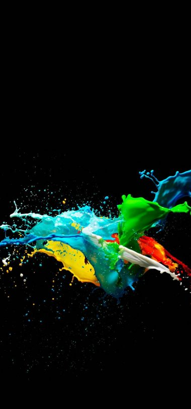Colorful Painted Black Background Wallpaper 720x1544 380x815