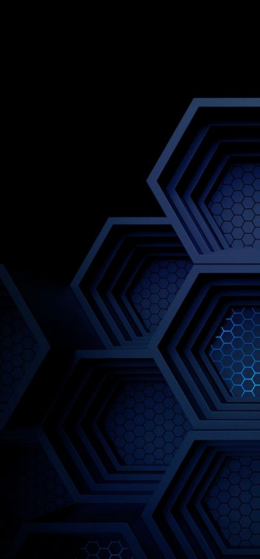 Dark Blue Boxes 3D Abstract Wallpaper 720x1544 380x815